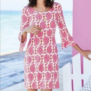 Boden Miriam white pink print dress bell sleeves 8